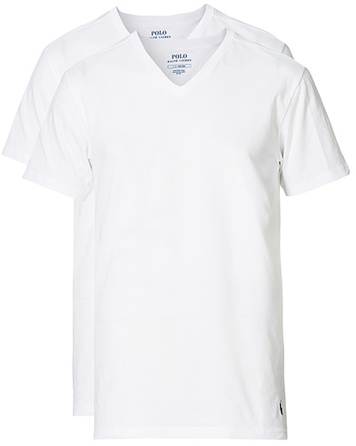 Polo Ralph Lauren 2-Pack T-Shirt V-Neck White ryhmässä Vaatteet / T-paidat @ Care of Carl (10296211r)