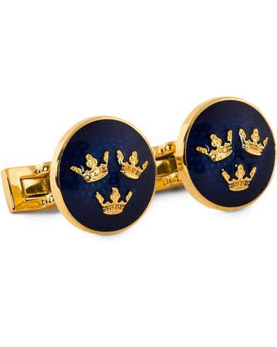 Skultuna Cuff Links Tre Kronor Gold/Royal Blue  ryhmässä Asusteet / Kalvosinnapit @ Care of Carl (10530010)
