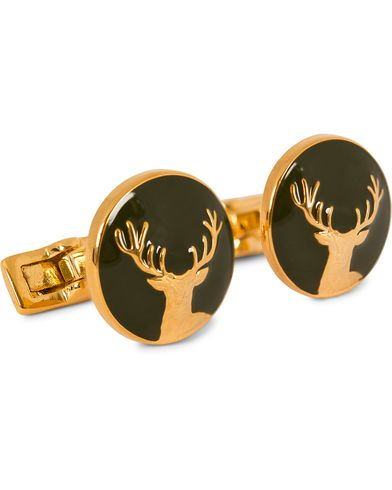 Skultuna Cuff Links Hunter Dear Gold/Green  ryhmässä Asusteet / Kalvosinnapit @ Care of Carl (10531010)
