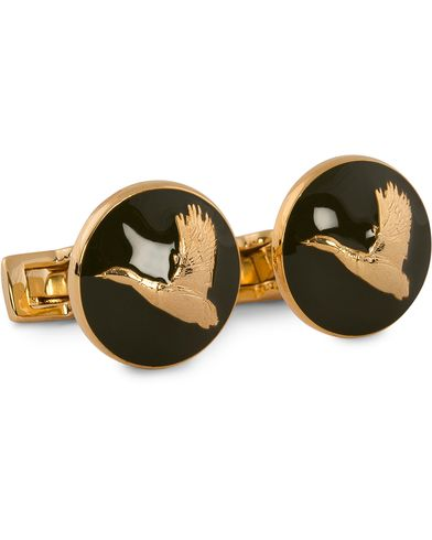 Skultuna Cuff Links Hunter Flying Duck Gold/Green  ryhmässä Asusteet / Kalvosinnapit @ Care of Carl (10531210)
