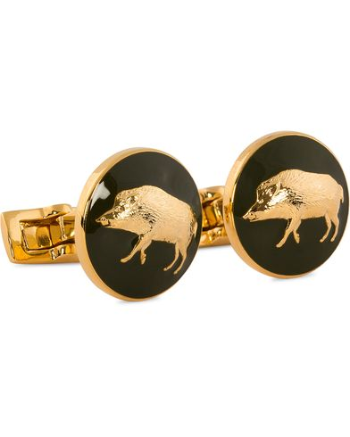Skultuna Cuff Links Hunter Wild Boar Gold/Green  ryhmässä Asusteet / Kalvosinnapit @ Care of Carl (10531310)