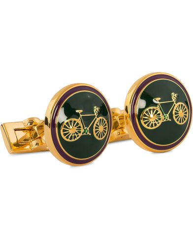 Skultuna Cuff Links Themocracy Gold/Racing Green  ryhmässä Asusteet / Kalvosinnapit @ Care of Carl (11004010)