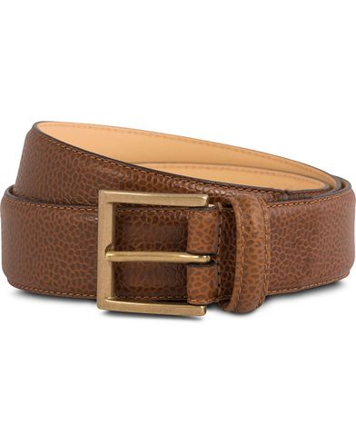 Crockett & Jones Belt 3,5 cm Tan Grained Calf ryhmässä Asusteet / Vyöt / Sileät vyöt @ Care of Carl (12051311r)