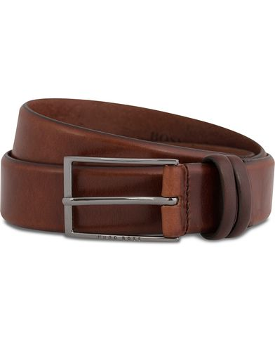BOSS Carmello Leather Belt 3,5 cm Medium Brown ryhmässä Asusteet / Vyöt / Sileät vyöt @ Care of Carl (12066811r)