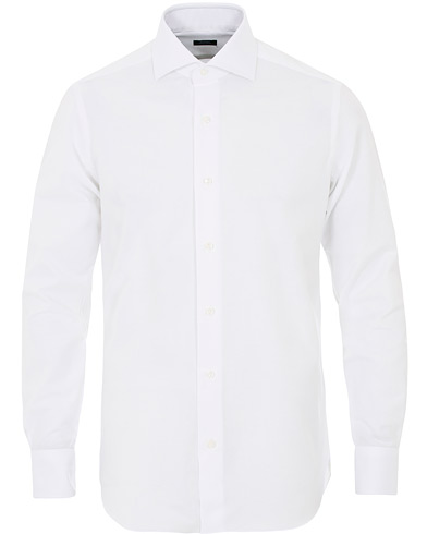 Barba Napoli Slim Fit Oxford Shirt White ryhmässä Vaatteet / Kauluspaidat / Rennot / Oxford-paidat @ Care of Carl (12077511r)