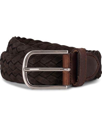 Morris Heritage Braided Suede 4 cm Belt Dark Brown 85