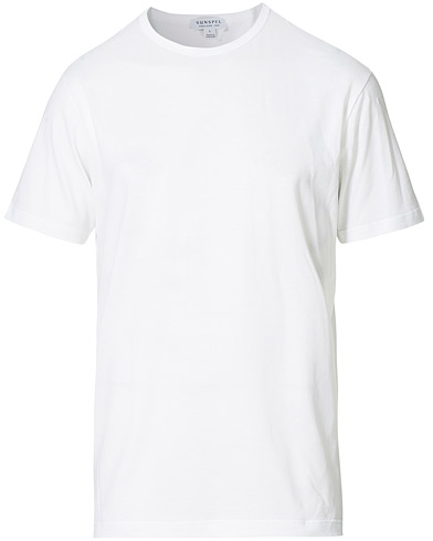 Sunspel Crew Neck Cotton Tee White ryhmässä Vaatteet / T-paidat @ Care of Carl (12245111r)