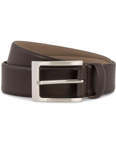 BOSS Barnabie Leather Belt 3,5 cm Dark Brown ryhmässä Asusteet / Vyöt / Sileät vyöt @ Care of Carl (12309711r)