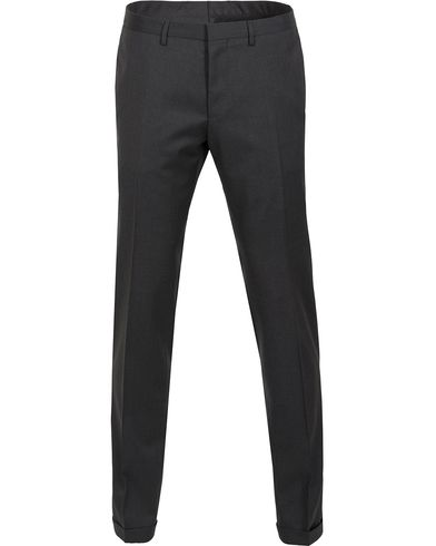BOSS Wave Slim Fit Wool Trousers Charcoal ryhmässä Vaatteet / Housut / Suorat housut @ Care of Carl (12743311r)