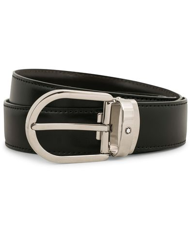 Montblanc Reversible Horseshoe Buckle 30mm Belt Black  ryhmässä Asusteet / Vyöt / Sileät vyöt @ Care of Carl (14009910)