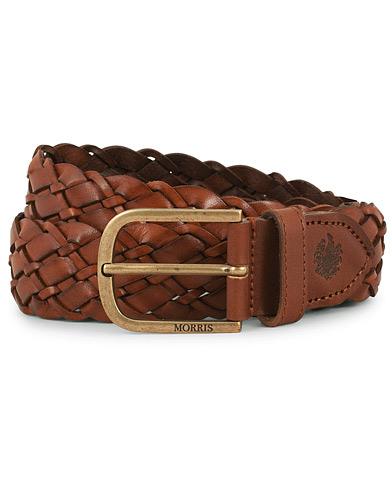 Morris Braided Leather 3,5 cm Belt Cognac