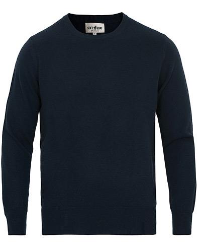 Soft Goat Cashmere O-neck Navy
