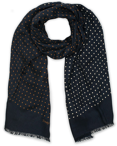 Drake's Wool/Silk Classic Spot Scarf Navy/White/Brown  ryhmässä Asusteet / Huivit @ Care of Carl (14956910)
