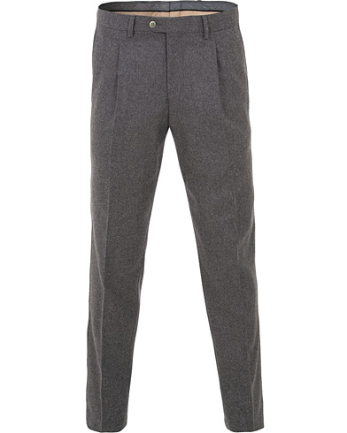 Oscar Jacobson Delon Pleated Flannel Trousers Dark Grey