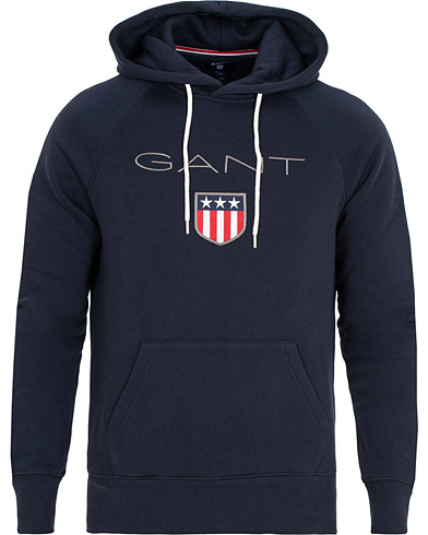 GANT Navy Logo Hooded Sweater Dress