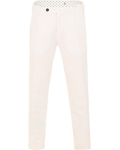 Massimo Alba Ionio Micro Herringbone Cotton/Linen Trousers Off White