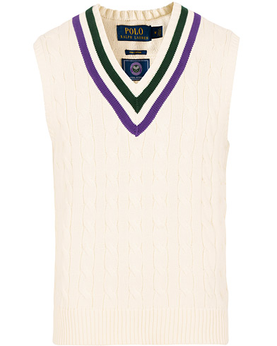 Polo Ralph Lauren Wimbledon Collection Tennis Vest Cricket Cream