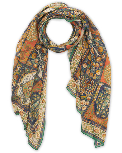 Drake's Cotton/Modal Patchwork Tapestry Scarf White