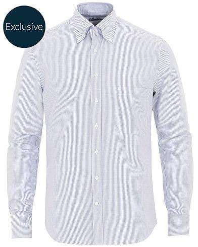 Stenströms Slimline Striped Oxford Shirt Blue/White