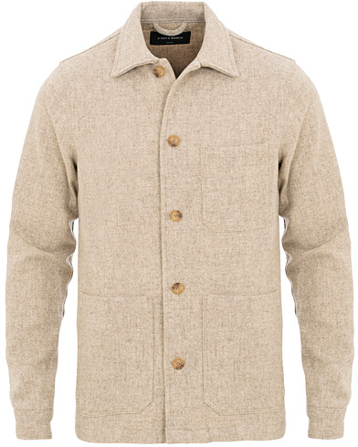 A Day's March Original Wool Overshirt Off White Melange ryhmässä Vaatteet / Kauluspaidat / Rennot / Paitatakit @ Care of Carl (15862711r)