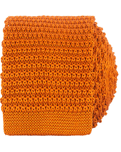 Amanda Christensen Knitted Silk Tie 6 cm Orange