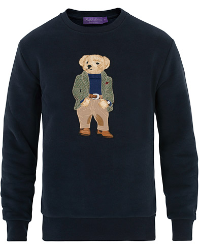 Ralph Lauren Purple Label Lux Fleece Ralph Bear Sweatshirt Classic Chairman Navy ryhmässä Vaatteet / Puserot / Collegepuserot @ Care of Carl (16071111r)