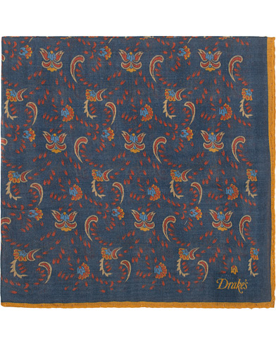 Drake's Wool/Silk Printed Flower Pocket Square Blue