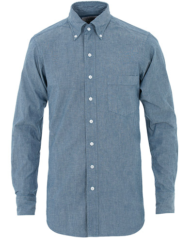 Drake's Slim Fit Chambray Shirt Light Washed