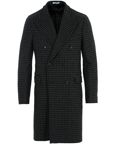 Boglioli K Jacket Double Breasted Houndstooth Coat Dark Grey