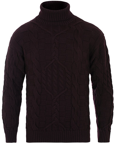 Etro Cableknit Turtleneck Sweater Burgundy ryhmässä Vaatteet / Puserot / Poolot @ Care of Carl (16287511r)