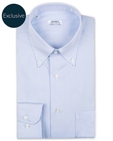 Barba Napoli Slim Fit Oxford Button Down Shirt Light Blue ryhmässä Vaatteet / Kauluspaidat / Viralliset @ Care of Carl (16298011r)