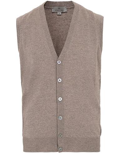 Canali Merino Wool Gilet Light Brown