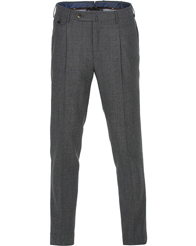 PT01 Gentleman Fit Pleated Wool/Cashmere Trousers Light Grey