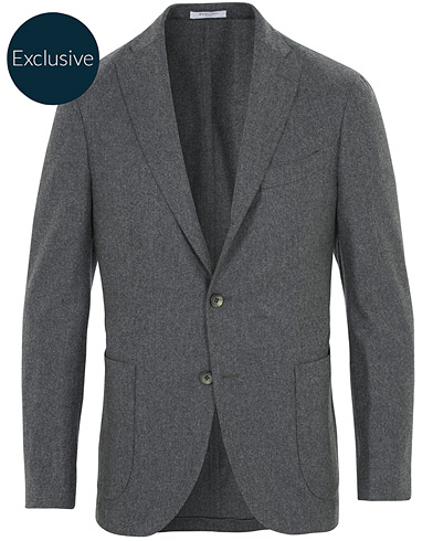 Boglioli K Jacket Patch Pocket Flannel Blazer Dark Grey ryhmässä Vaatteet / Pikkutakit / Villakankaiset pikkutakit @ Care of Carl (16441311r)
