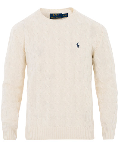 Polo Ralph Lauren Wool/Cashmere Cable Crew Neck Andover Cream ryhmässä Vaatteet / Puserot / Neuleet @ Care of Carl (16492611r)