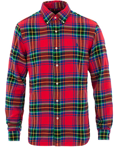 Polo Ralph Lauren Custom Fit Flannel Check Shirt Red