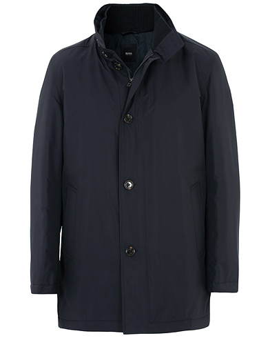 BOSS Caylen Water Repellent Coat Navy ryhmässä Vaatteet / Takit / Päällystakit @ Care of Carl (16521411r)