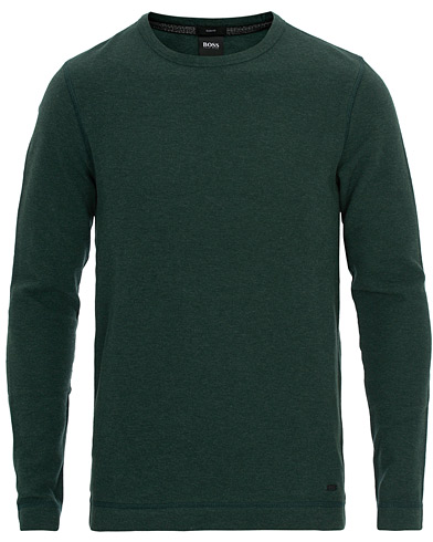 BOSS Casual Tempest Fine Heather Waffle Pullover Open Green ryhmässä Vaatteet / Puserot / Neuleet @ Care of Carl (16628311r)