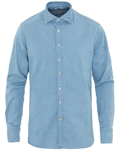 Stenströms Fitted Body Garment Washed Shirt Light Denim ryhmässä Vaatteet / Kauluspaidat / Rennot @ Care of Carl (16650011r)