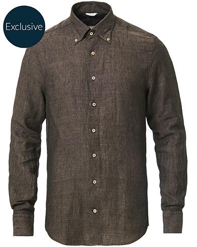 Stenströms Slimline Button Down Linen Shirt Brown