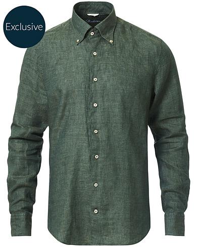 Stenströms Slimline Button Down Linen Shirt Green