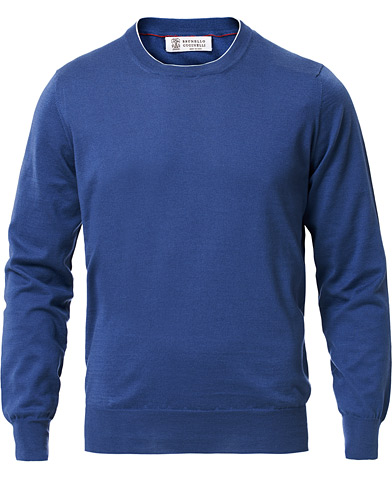 Brunello Cucinelli Crew Neck Cotton Contrast Pullover Denim Blue
