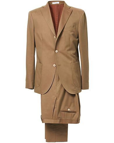 Boglioli K Jacket Patch Pocket Wool Blend Suit Tobacco