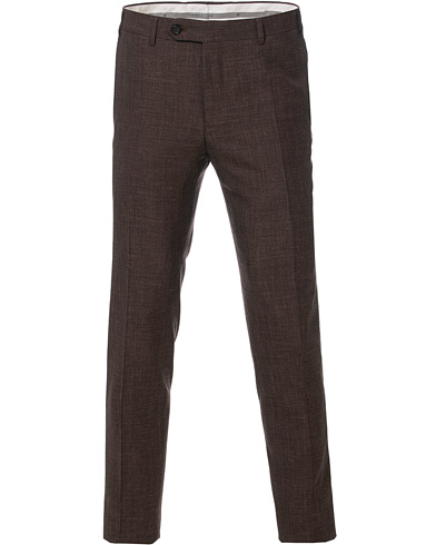 Canali Wool/Linen Classic Trousers Dark Brown