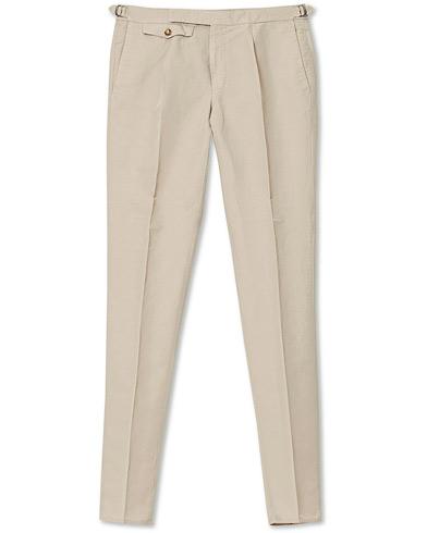 Incotex Slim Fit Pleated Chinolino Trousers Beige