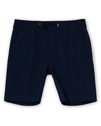 NN07 Sebastian Seersucker Drawstring Shorts Navy ryhmässä Vaatteet / Shortsit / Chino-shortsit @ Care of Carl (16800611r)