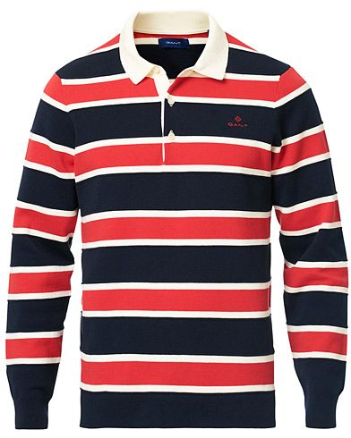 GANT Knitted Striped Rugger Bright Red