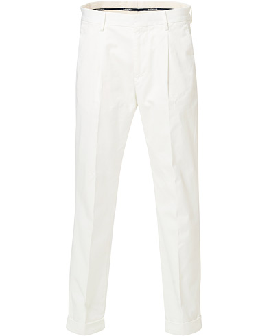Morris Bernard Pleated Turn Up Trousers Off White
