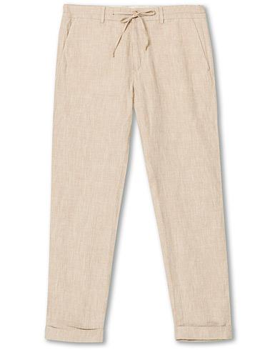 Morris Windslow Linen Turn Up Drawstring Trousers Khaki