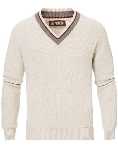 Morris Heritage Contrast V-Neck Off White